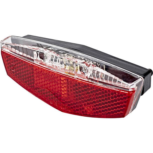 XLC Gepäckträger LED Batterieleuchten Set inkl Reflektor mit USB-Ladebuchse