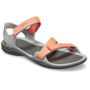 Crocs Swiftwater Webbing Sandals Damen bright coral/light grey bright coral/light grey