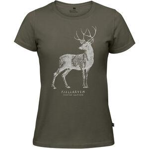 Fjällräven Deer Print T-Shirt Damen tarmac tarmac