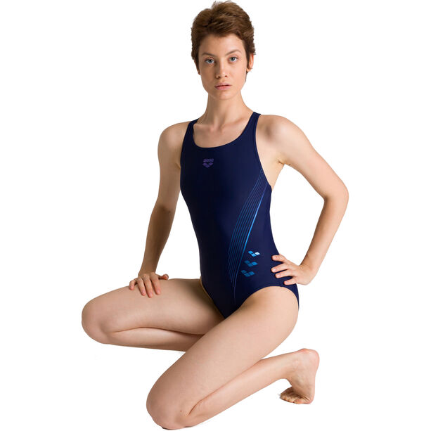 arena Chameleon V Back One Piece Badeanzug Damen navy/neon blue