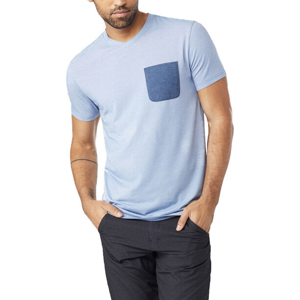 tentree Micro Boulder Pocket T-Shirt Herren delft blue micro stripe