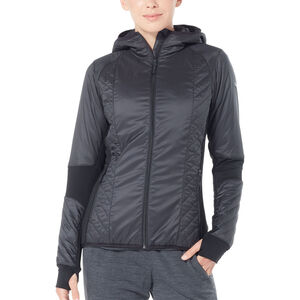Icebreaker Helix LS Zip Hood Jacket Damen black/jet heather black/jet heather