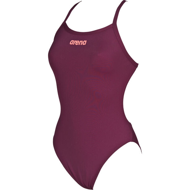 arena Solid Light Tech High One Piece Swimsuit Damen red wine-shiny pink