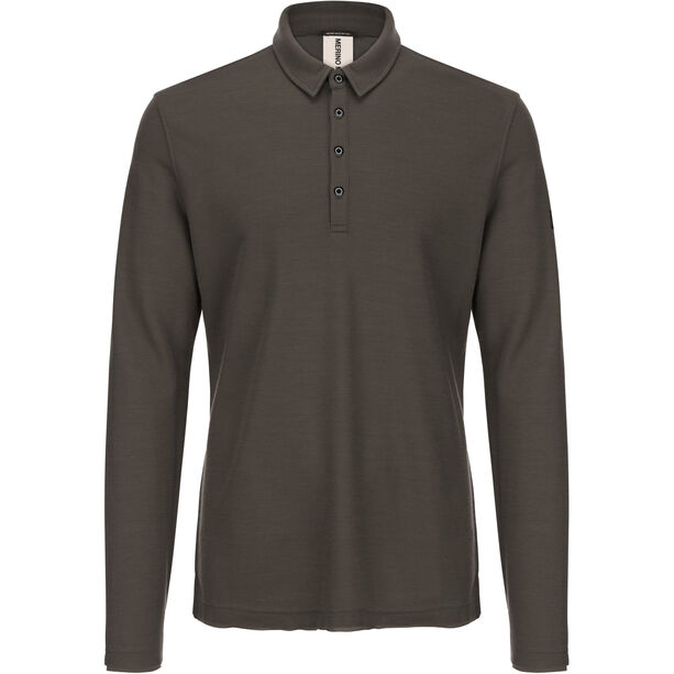 super.natural Piquet Langarm Polo Herren killer khaki
