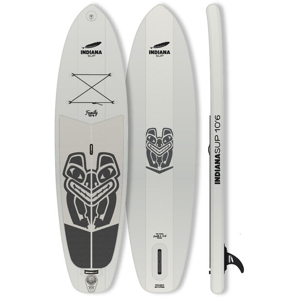 Indiana SUP 10'6 Family Pack Aufblasbares SUP Board mit 3-teiligem Fiberglass/Composite Paddel grey
