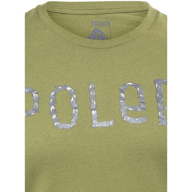 POLER Furry Font Kurzarmshirt Herren mossy