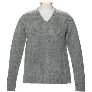 Alchemy Equipment 3GG Lambswool Tweed Relaxed V-Ausschnitt Pullover Damen grey tweed grey tweed