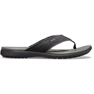 Crocs Santa Cruz Canvas Flip Sandals Herren black/slate grey black/slate grey