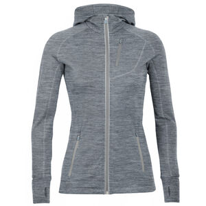 Icebreaker Quantum LS Zip Hood Jacket Damen gritstone heather gritstone heather