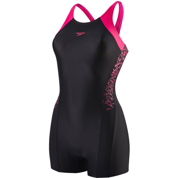 speedo Boom Splice Legsuit Mädchen black/electric pink