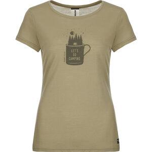 super.natural Print T-Shirt Damen bamboo/killer khaki camper print bamboo/killer khaki camper print
