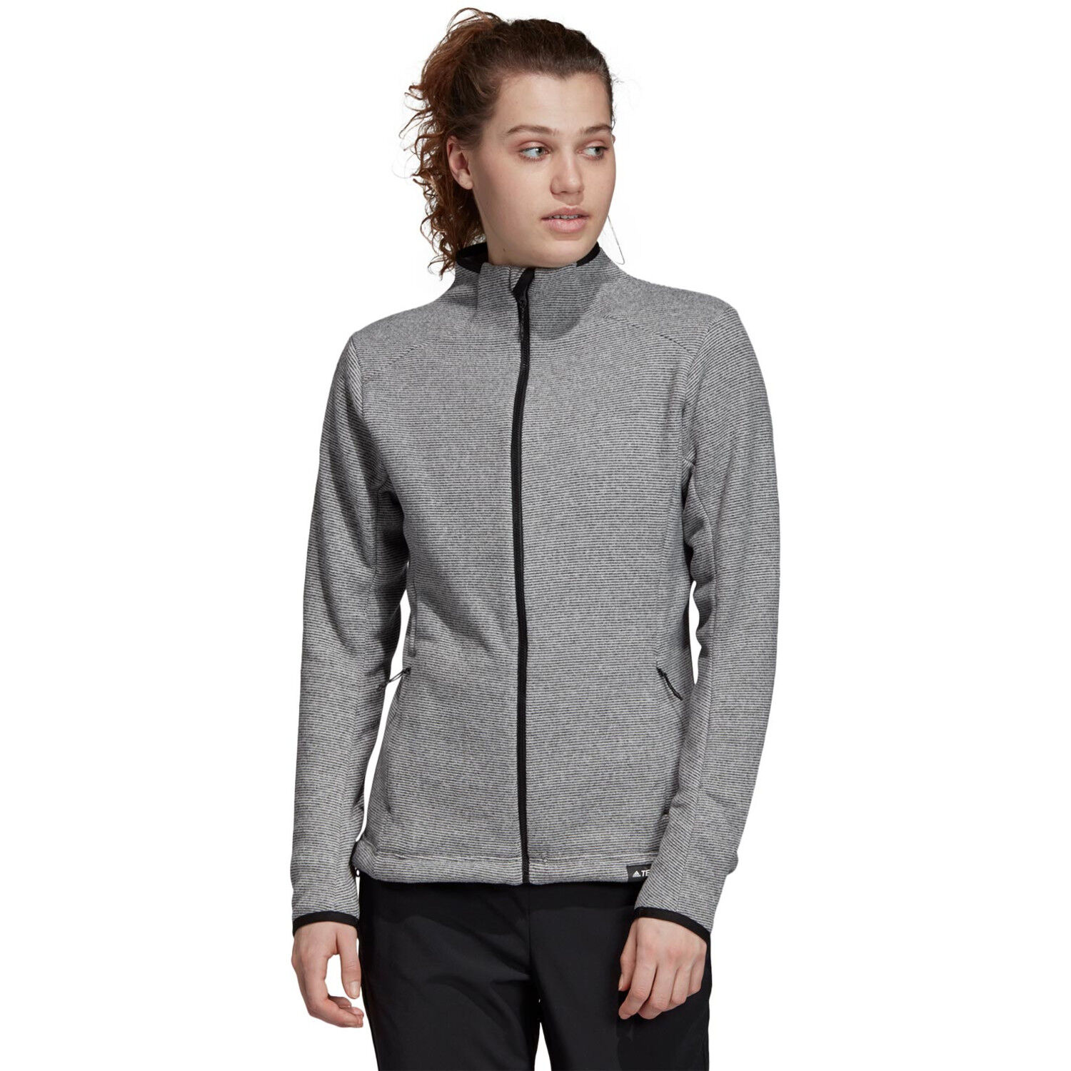 adidas TERREX Knit Fleece Jacke Damen dark grey heather