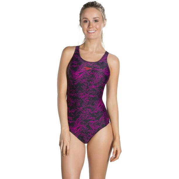 speedo Boom Allover Muscleback Swimsuit Damen black/electric pink