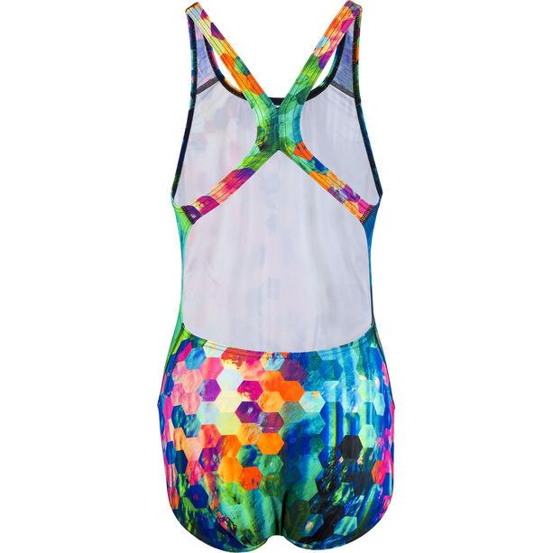 speedo Placement Digital Powerback Swimsuit Damen black/blue