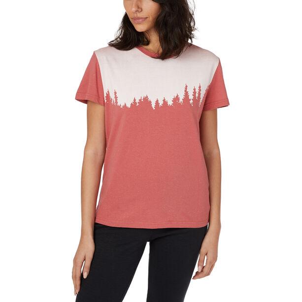 tentree Snow Juniper Kurzarm T-Shirt Damen mineral red snow fleck