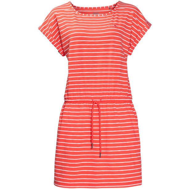 Jack Wolfskin Travel Striped Dress Damen hot coral stripes
