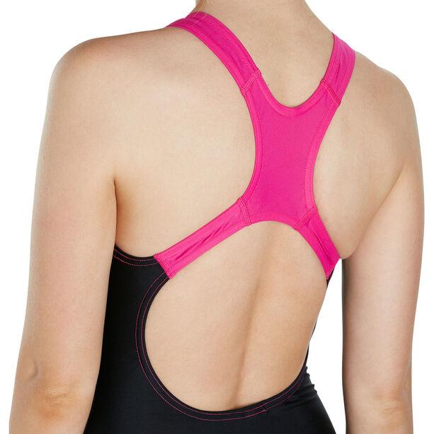 speedo Gala Logo Medalist Swimsuit Damen black/electric pink