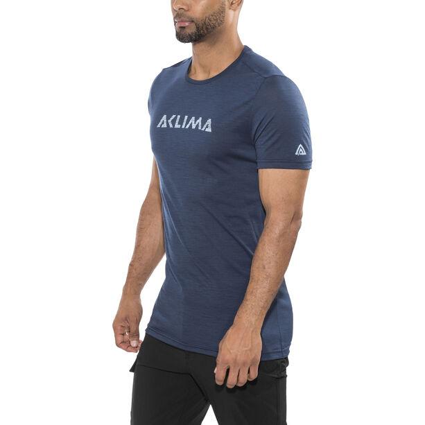 Aclima Lightwool Logo T-Shirt Herren insignia blue