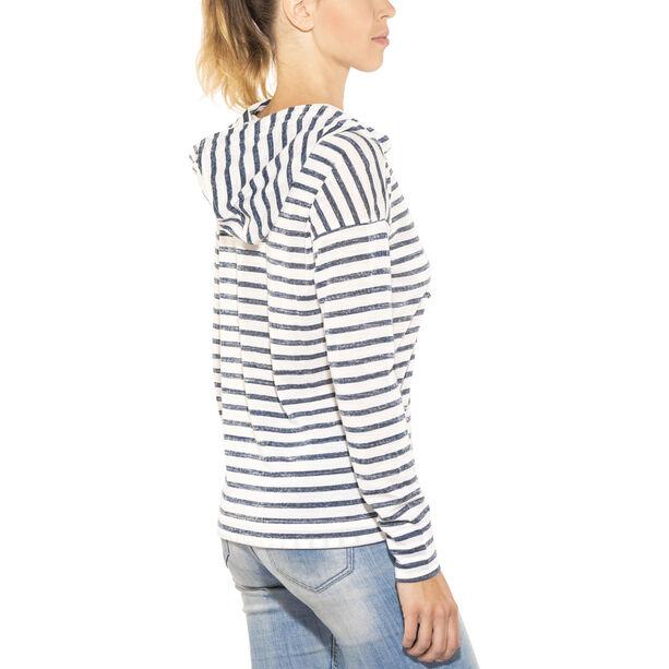 super.natural Funnel Hoodie Printed Damen fresh white/fine stripe print