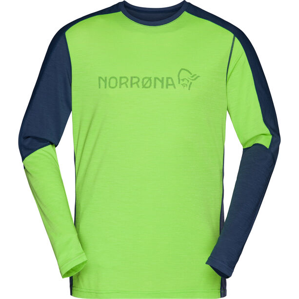 Norrøna Equaliser Langarm Rundhals Merino Shirt Herren bamboo green/vintage indigo