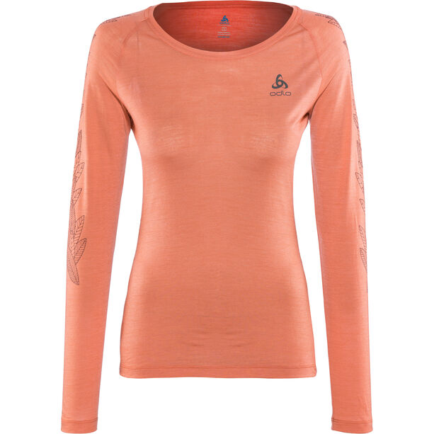 Odlo BL Concord LS Top Crew Neck Damen chrysanthemum-leaves on sleeve print ss19