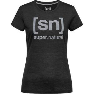 super.natural Essential I.D. Tee Damen jet black melange/vapor grey logo jet black melange/vapor grey logo