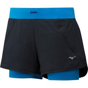 Mizuno Mujin 4.5 2in1 Shorts Damen black/brilliant blue black/brilliant blue