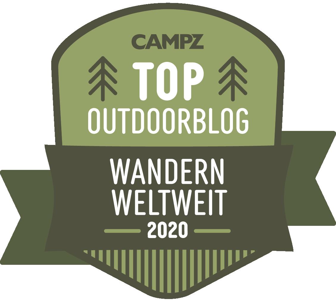 Siegel Top Outdoorblog 2020 in der Kategorie Wandern weltweit