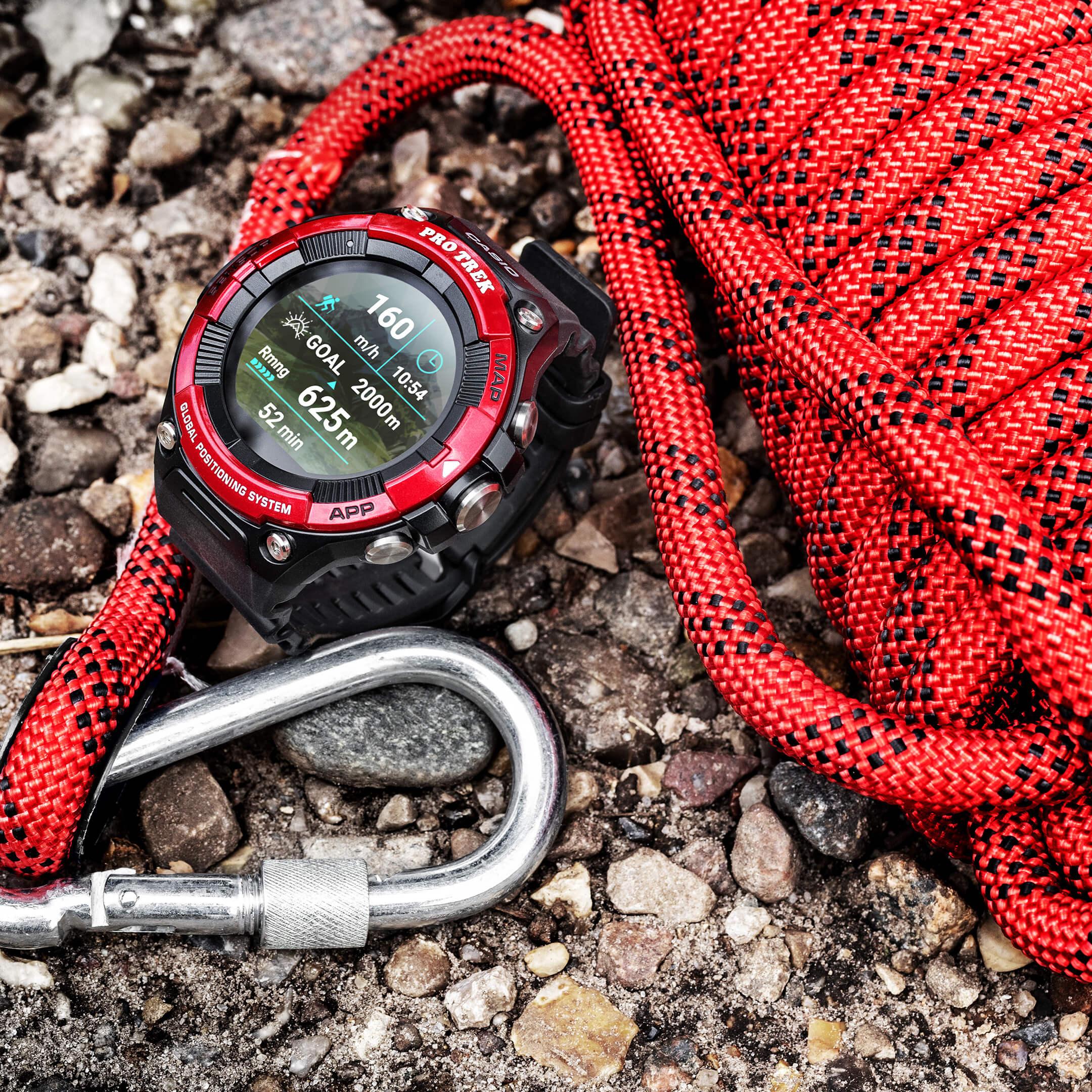 Die Pro Trek Smartwatch beim Klettern