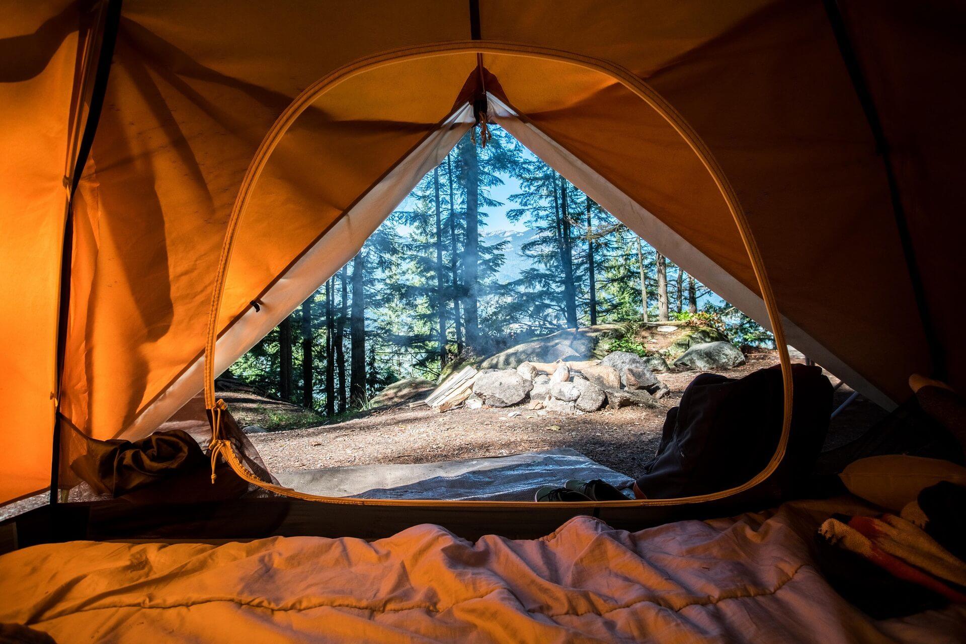 Orangenes Campingzelt in der Nähe von grünen Bäumen